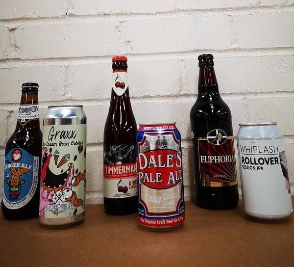 Assortment of beers on display