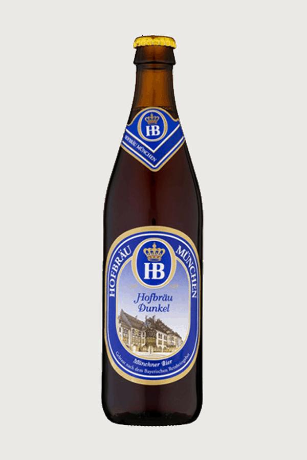 hofbrau dunkel beer bottle blue and white label