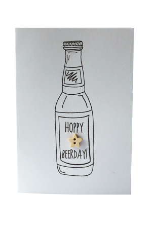 """Hoppy Beerday"" Handmade Birthday Card"