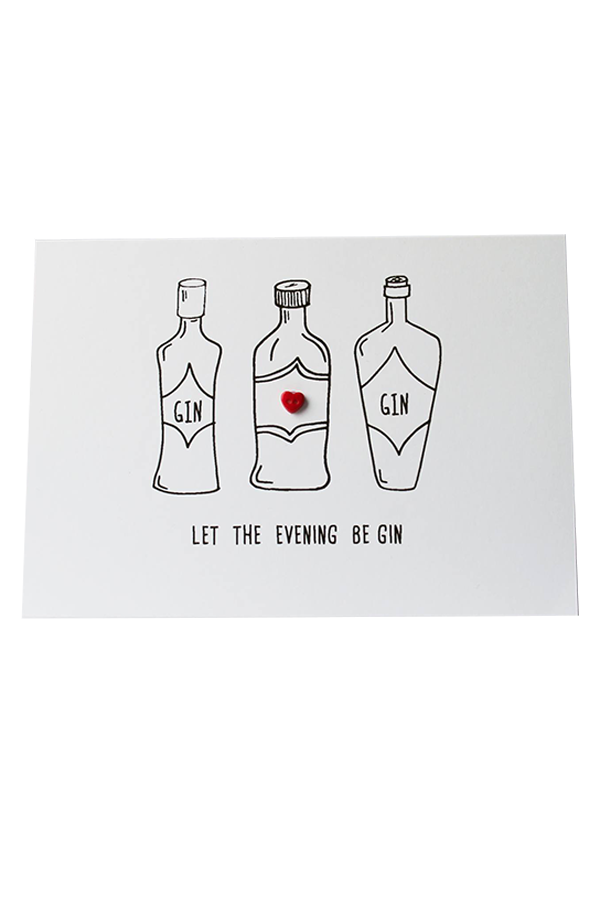 """Let the Evening Be Gin"" Handmade Greeting Card"