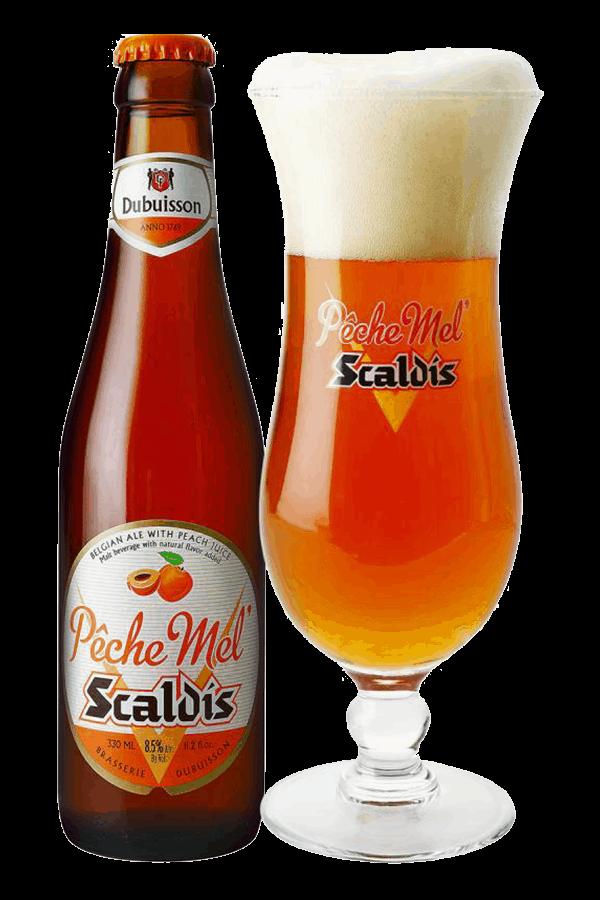 Peche Mel Glass and Bottle