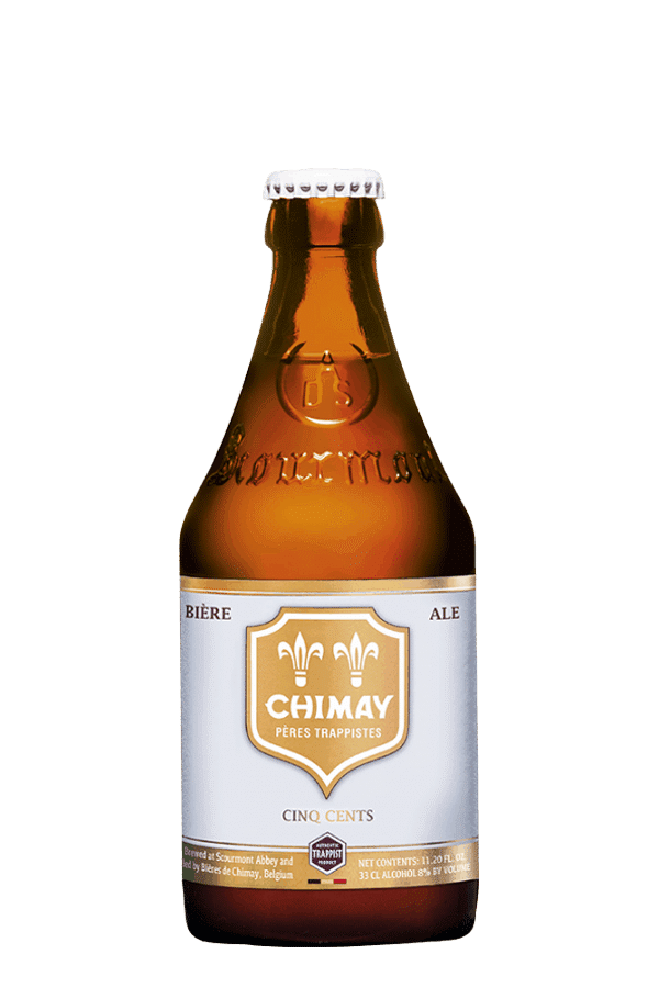 chimay white beer bottle