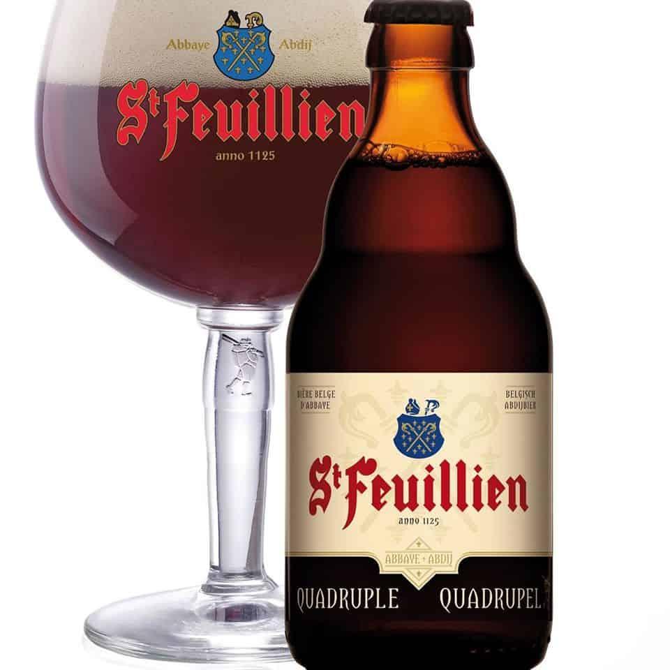 St Feuillien Quadrupel bottle and drinking glass