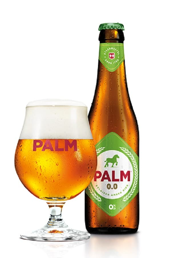 palm 0.0% bottle and glass